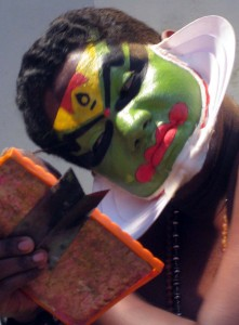 Traditional Kathakali performer of Kerala - Fort Cochin, India