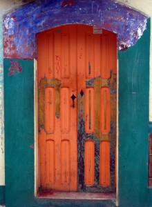 Old doorway in San Cristobal de las Casa, Chiapas, Mexico