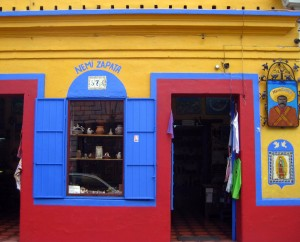 Zapatista shop in vivid colors in San Cristobal de las Casas, Chiapas, Mexico
