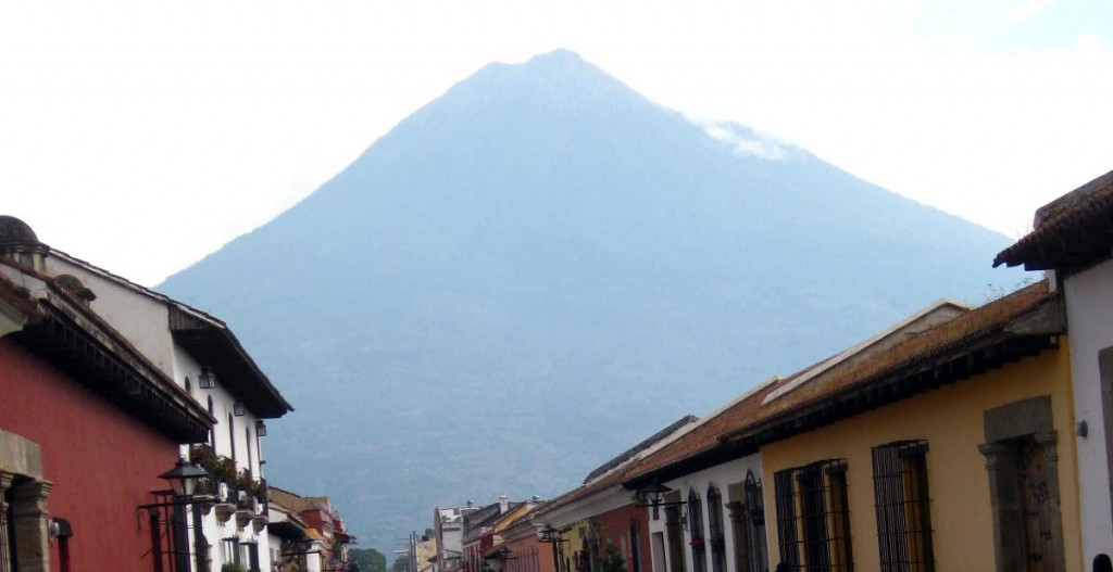 Volcano looms above La Antigua. Guatemala
