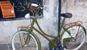 Green bicycle in Rome, Italy
