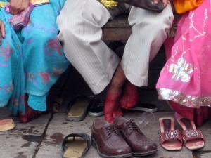 Hennaed feet of bride and groom - Varanasi, Uttar Pradesh, India
