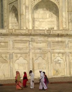 Taj Mahal facade with Indian visitors in Agra, Uttar Pradesh, India