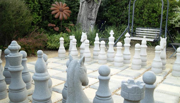 Garden chess at MacArthur Place in Sonoma, California, USA