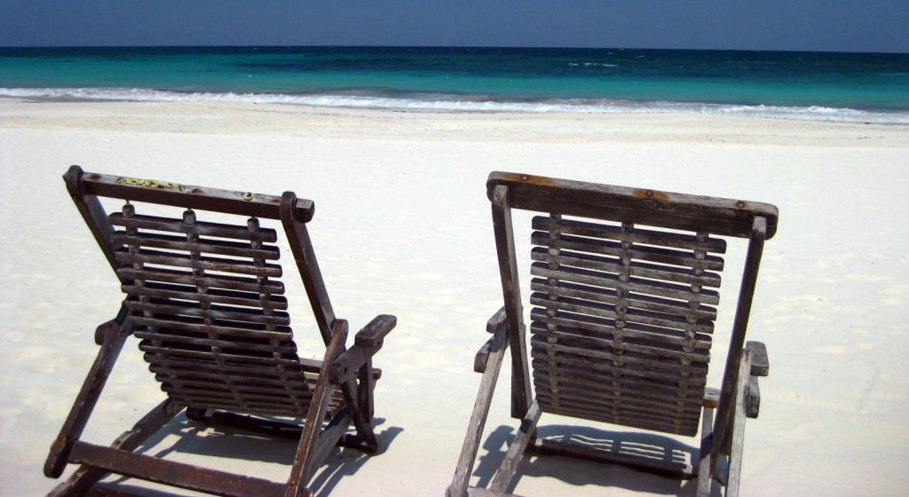 Beach chairs on the sand in Tulum, Quintana Roo, Mexico