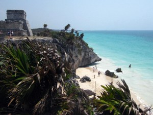 Mayan ruins on the beach in Tulum, Quintana Roo, Mexico