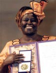 Wangari Maathai, founder of the Greenbelt Movement, with her Nobel Peace Prize