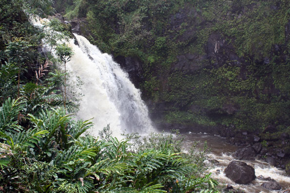 Waterfall on the Road to Hana on Maui, Hawaii, USA