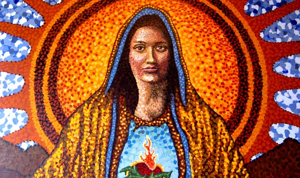 Mural of Our Lady of Guadalupe at Gracias Madre organic Mexican restaurant in the Mission District, San Francisco, USA