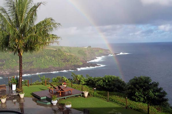 Rainbow at The Cliff's Edge on Maui, Hawaii, USA