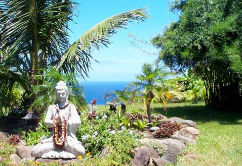 Meditation garden at Maui Retreat on Maui, Hawaii, USA