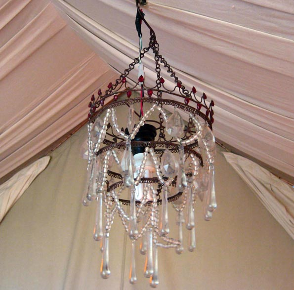 Chandelier in a tent in Serengeti Under Canvas in Tanzania, Africa