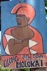 Slow down sign on Molokai, Hawaii, USA