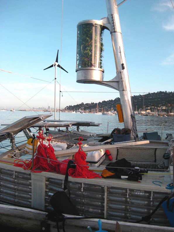 Hanging vegetable garden on The Plastiki before sailing from Sausalito, California, USA