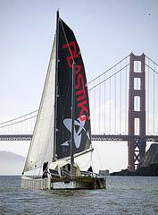 The Plastiki and Golden Gate Bridge by Luca Babini