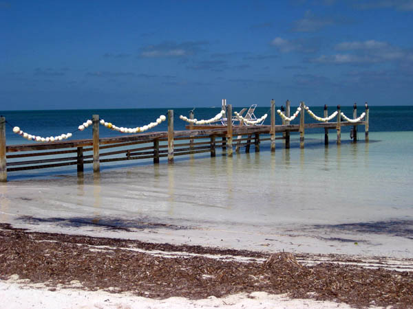 Lower Matecumbe Key beach and dock in Islamorada, Florida Keys, USA