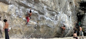 Rockclimbing on Railey Beach on Phranang Peninsula, near Krabi, Thailand