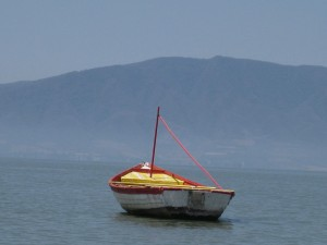 Lake Chapala fishing boat in Ajijic, Jalisco, Mexico