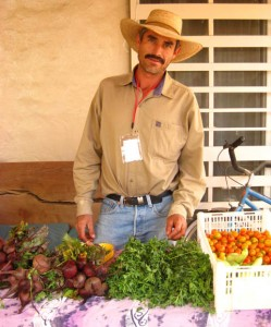 Organic farmer at the weekly organic tianguis in Ajijic, Mexico