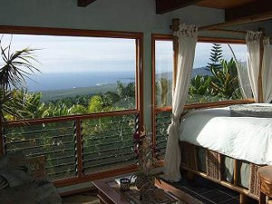 Glorious view from Kohola Room, Aloha Guesthouse near Captain Cook, Big Island, Hawaii, USA
