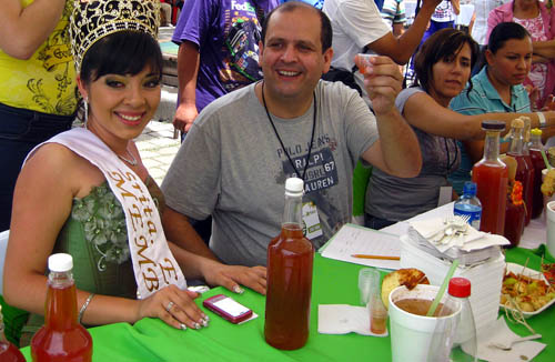 Miss Membrillo at the judges' table, Expo Membrillo 2010, in Atotonilquillo, Jalisco, Mexico