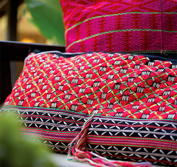 Colorful Thai hill tribe fabrics, Tamarind Chiang Mai in Chiang Mai, northern Thailand
