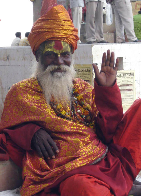 Sadhu - Holy Man of the Ganges ghats - in Varanasi, Uttar Pradesh, India