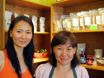 Bayarmaa Jarantai and her sister Enkhmaa at The Organic Cafe and Shop, Ulan Bator, Mongolia