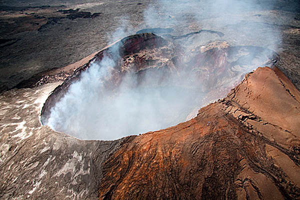Crater rim of Kilauea volcano in Hawaii Volcanoes National Park, USA
