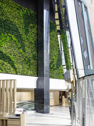 Pollution-fighting living green wall at the Eaton Smart Hotel, Hong Kong, China