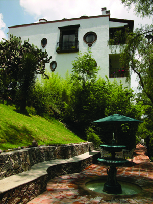 Lush grounds at La Puertecita boutique hotel in San Miguel de Allende, Guanajuato, Mexico