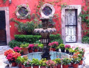 Courtyard fountain at Casa Luna Quebrada in San Miguel de Allende, Guanajuato, Mexico