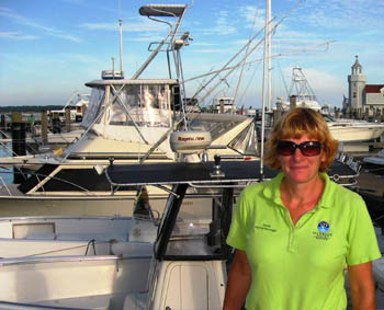 Abbie Coderre, manager of green, Five Bell Saybrook Point Marina in Old Saybrook, Connecticut, USA