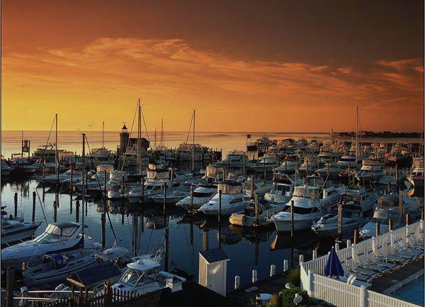 Five Bell and eco-friendly Saybrook Point Marina at sunset in Old Saybrook, Connecticut, USA