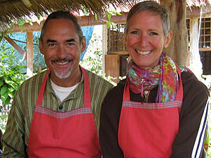 Gary and Peggy Diedrichs in Thai cooking class, Chiang Mai, Thailand