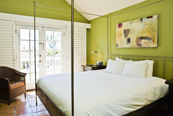 Light-filled guest room at El Dorado Hotel in Sonoma, California, USA