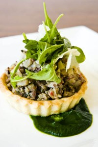 Savory tart at El Dorado Kitchen restaurant in Sonoma, California, USA