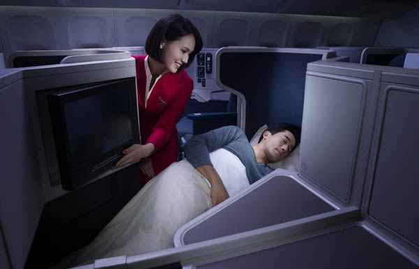Cathay Pacific Business Class sleeping