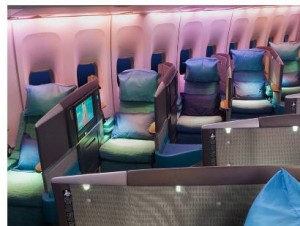 Herringbone array of Cathay Pacific Business Class