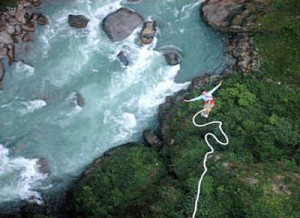 Bungee jumper, The Last Resort in Nepal