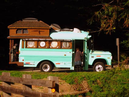 Far-out bus in Big Sur, California USA