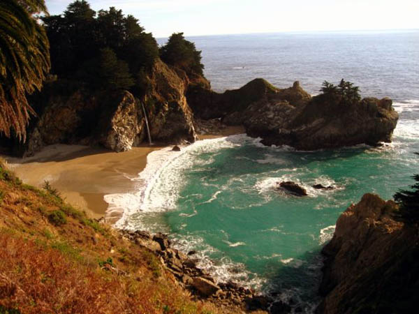 Beach waterfall, Julia Pfeiffer State Park in Big Sur, California USA