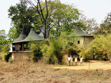 The greeting wave at Bajaar Tola Tented Camp in Kanha National Park, India