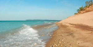 Sandy beach on Lake Michigan near Traverse City, Michigan USA