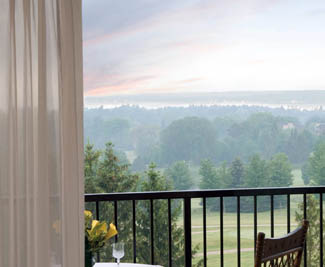 Glorious balcony view, Grand Traverse Resort in Acme, Michigan USA