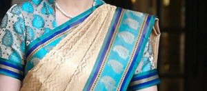 Handwoven sari worn at Taj Hotels Resorts and Palaces