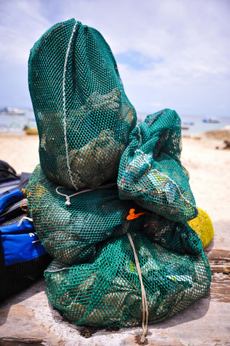 Underwater junk collected by Atlantis International Dive Center in Sanur, Bali, Indonesia