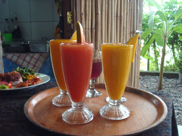 Colorful blended drinks, Overflowing Basket Cafe - Ubud, Bali, Indonesia