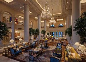 Grand lobby, Leela Palace in New Delhi, India