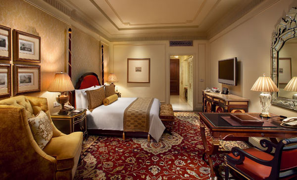 Guest room, Leela Palace Hotel in New Delhi, India